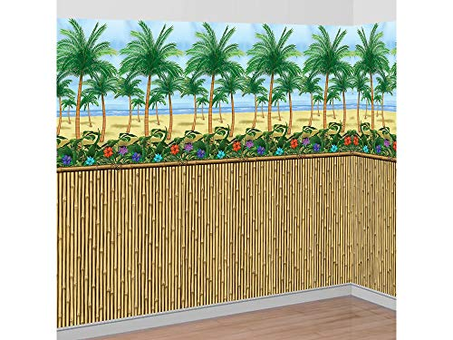 Party City Sunny Beach Scene Setter Supplies, Include a Bamboo Room Roll and Palm Tree Room Roll, Cut to Fit Your Space -