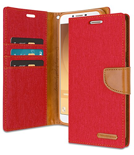 Galaxy J1 Ace Wallet Case with Free 4 Gifts [Shockproof] GOOSPERY Canvas Diary [Ver. Magnetic] Card Holder with Kickstand Flip Cover for Samsung GalaxyJ1Ace - Red, J1ACE-CAN/GF-RED