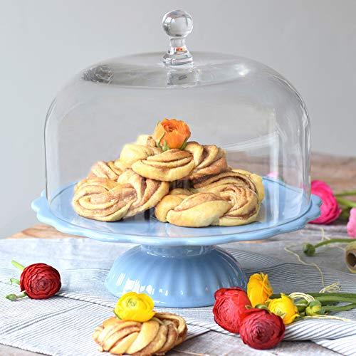 Romantique: Ib Laursen Mynte présentoir à gâteaux bleu clair avec cloche, ø 29 cm