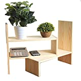 Wooden Office Desktop Creative Assembly Bookshelves Storage Organizer,Counter Top Bookcase,Adjustable