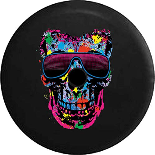 Pike Outdoors JL Series Spare Tire Cover Backup Camera Hole Neon Painted Splatter Skull Stunna Shades Sunglasses Black 32 in