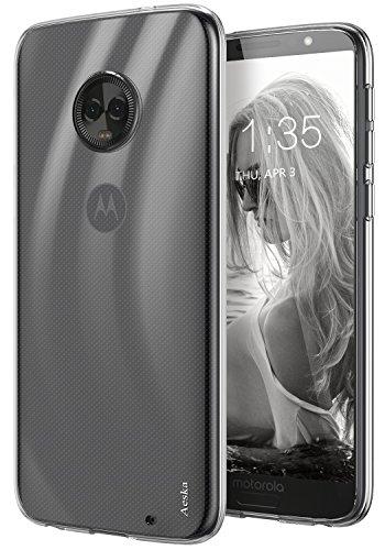 Moto G6 Plus Case, Aeska Ultra [Slim Thin] Flexible TPU Gel Rubber Soft Skin Silicone Protective Case Cover for Motorola Moto G6 Plus (Clear)