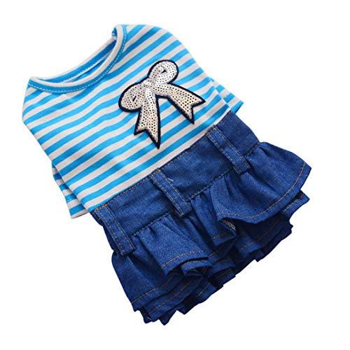 Shirt Dachshund Miniature Denim (Jim-Hugh Pet Sequin Bow Tie Denim Skirt Lace Dog Summer Dress Soft Breathable Puppy Cat Princess Dresses Comfortable)
