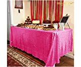 6FT Table Sequin Tablecloth 60 X 120 Sequin Shimmer Hot Pink Table Cloth Around The World Party Decorations Fuchsia Table Linens (60x120-Inch, Hot Pink)