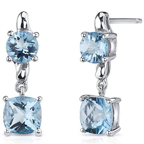 Cushion Cut 3.50 Carats Swiss Blue Topaz Earrings in Sterling Silver Rhodium Finish ()