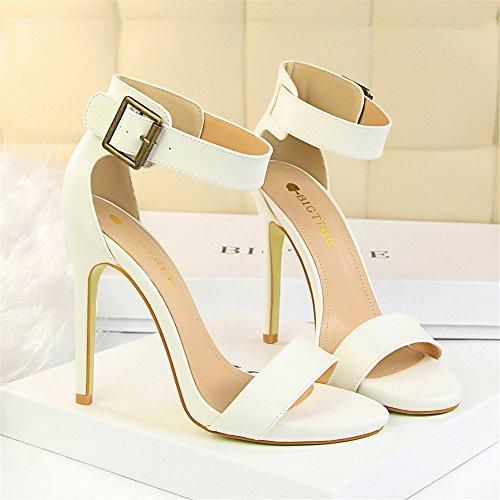z&dw Zapatos retro tacones sexy Super alto talón cinturón hebilla sandalias Blanco