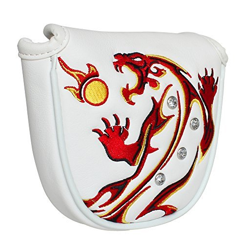 Craftsman Golf White Synthetic Leather Tiger Magnetic Golf Mallet Putter Cover Headcover for Taylormade Odyssey Scotty Cameron Ping