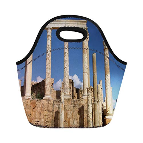 Semtomn Lunch Bags Ancient Africa Roman Columns Libya Amphitheater Antique Antiquity Archaeological Neoprene Lunch Bag Lunchbox Tote Bag Portable Picnic Bag Cooler Bag