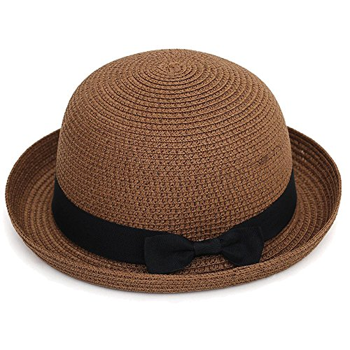 (Andy&Esther Hand-Weaved Straw Bowler Hat Short Brim Beach Sun Hat for Men and Women Straw Hat with Bow Belt (Chocolate))