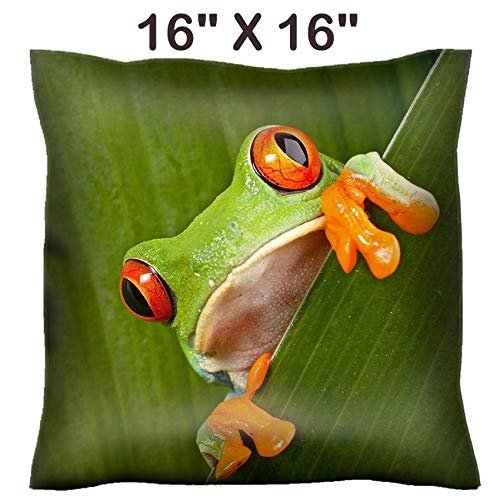 Liili 16x16 Throw Pillow Cover - Decorative Euro Sham Pillow Case Polyester Satin Soft Handmade Pillowcase Couch Sofa Bed red Eyed Tree Frog Peeping curiously Between Green Leafs in Rainforest Costa