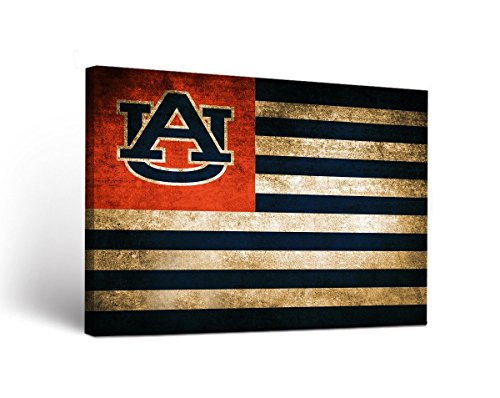 Victory Tailgate Auburn Tigers Canvas Wall Art Vintage Flag Design - Auburn Bowl Iron