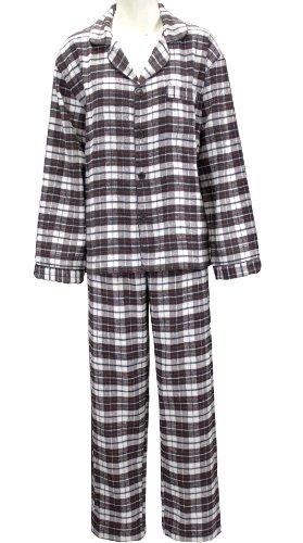 Women's Cotton Flannel Pajama Set Plaid White