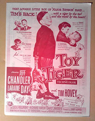 Pressbook Playbill Ad~ Toy Tiger ~1956 ~Jeff Chandler ~Laraine Day ~Tim Hovey