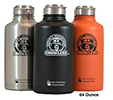 Smoky Mountain Growlers Insulated Stainless Steel All-in-one 64 oz Water Bottle, Thermos, and Wine or Beer Growler with Stainless Steel Lid
