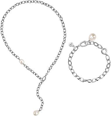 Morellato Special pack para mujer, Colección ORIENTE, en acero, perla, formado por pulsera y collar - SARI16: Amazon.es: Joyería
