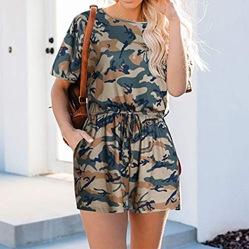 Baigooswt Jumpsuit,Womens Casual Sleeveless V Neck Racerback Plus Size Camouflage Short Jumpsuit Romper with Pockets