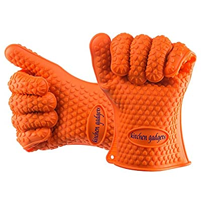 Oven Gloves Heat Resistant, BBQ Gloves Extreme Heat Resistant For Protect Your Hands from Grilling, Baking, Smoking, Cooking- 1 Size Fits All (Orange) - FDA Approved Grill Gloves
