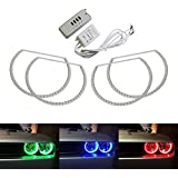 iJDMTOY 180-LED RGB Multi-Color LED Angel Eyes Halo Rings For 2008-2014 Dodge Challenger w/ Wireless Remote Control