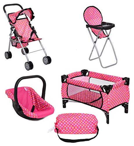 Doll Play Set 4 IN 1 Doll Set, 1 Pack N Play. 2 Doll Stroller 3.Doll High Chair. 4.Infant Seat, Fits Up to 18'' -