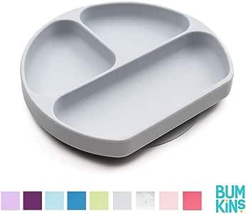Bumkins Silicone Grip Dish, Gray