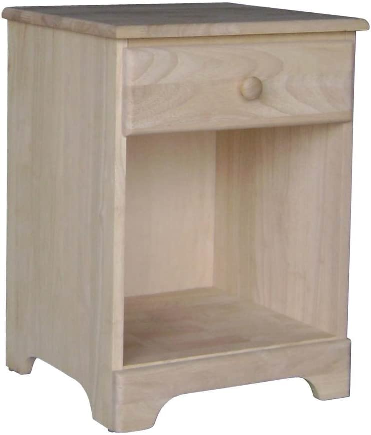 International Concepts Night Stand with One Drawer, Unfinished