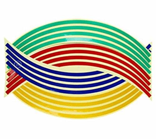 SKS Distribution/® Lot de 16/stickers autocollants Multicolore Bandes de roue et jante 35,6/cm r/éfl/échissant pour v/élo moto voiture Ruban voiture