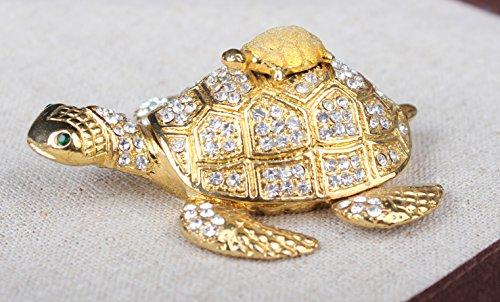 Sea Turtle Crystal Studded Pewter Jewelry Trinket Box Lucky Turtle Sea Animal Figurine