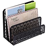 3 Slot Metal Geometric Cut-out Design Desk Letter Mail Sorter, Document Organizer, Black
