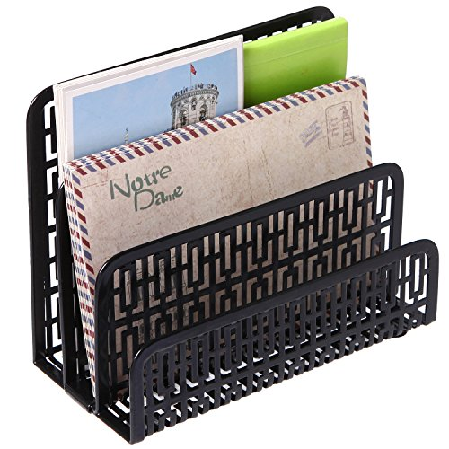 3 Slot Metal Geometric Cut-out Design Desk Letter Mail Sorter, Document Organizer, (Cut Out Design Metal)