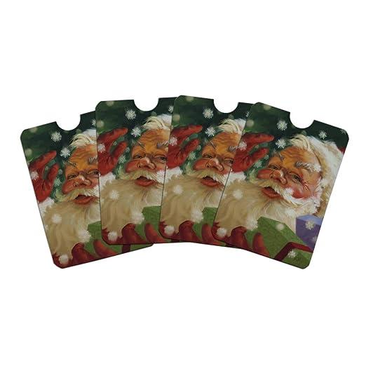 c219cc1c1d11 Christmas Holiday Hello Santa Claus Credit Card RFID Blocker Holder ...