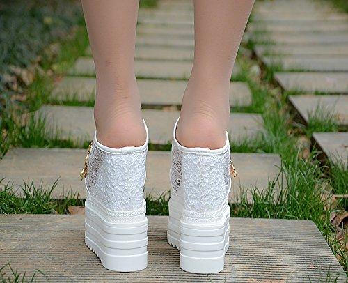 nuevo de XiaoGao fondo alto 13 grueso Blanco tacon Zapatillas cm en el wwO8B