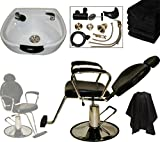 LCL Beauty White Heart Shaped CERAMIC Shampoo Bowl and Hydraulic Reclining Chair Shampoo Package w/ 6 Free Black Absorbent Salon Quality Towels