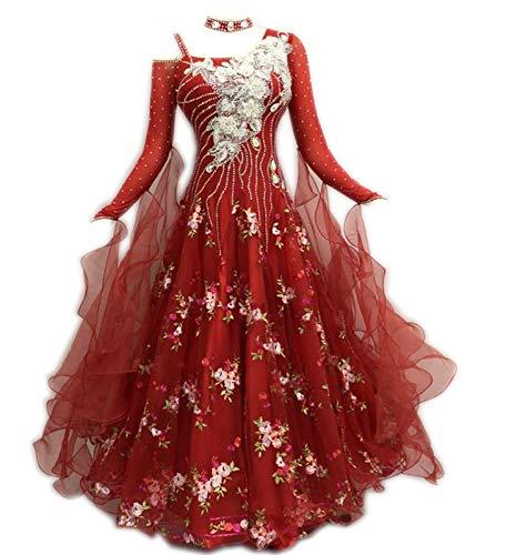 [해외]Garuda 크기 순서 여자 사교 춤 귀중품 정장 드레스 원피스 파티 꽃무늬 원피스 레드 / Garuda size order women`s ballroom dance valuables dress dresses One Piece party floral print one piece red