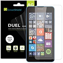 GreatShield Microsoft Lumia 640 [3 pack] Screen Protector - [Anti-Glare Matte] [DUEL Mark II] Smooth Transparent Shield Film [Lifetime Replacement Warranty]