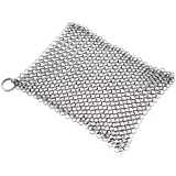 Alpha Living Cast Iron Scrubber 8 x 8 - High Grade Stainless Steel Scrubber - Cast Iron Chainmail Scrubber