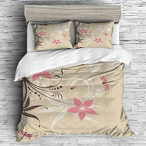 (FULL Size Cute 3 Piece Duvet Cover Sets Bedding Set Collection [ Dragonfly,Floral Background with Dragonflies and Spiral Fashioned Foliage Bud Elements Print,Brown Tan ] Comforter Cover Set for Kids G)