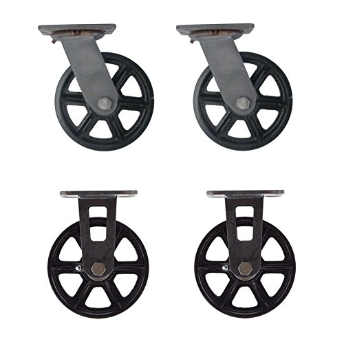 "(Set of 4) 6"" CC Vintage Casters - Plate Mount - 2 Swivel and 2 Rigid"