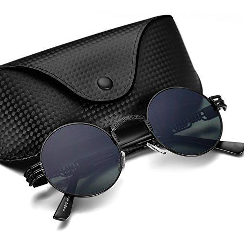Menton Ezil Steampunk Sunglasses John Style Metal Frame Round Hipster - Christmas Sunglasses Sale