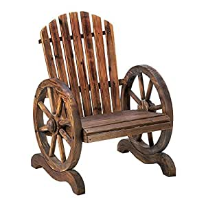 Outdoor Lounge Chair, Wagon Wheel Patio Accent Wood Lawn Rustic Adirondack Chair