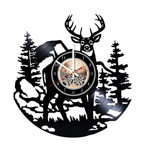 Wood Workshop Deer Skull Animal Art Vinyl Record Wall Clock - Get unique bedroom or living room wall decor - Gift ideas for him and ()
