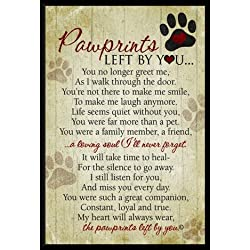 "Grandparent Gifts Paw prints Left By You Memorial Pet Plaque Size: 5"" by 7"""