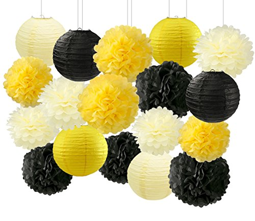 (HappyField Honey and Bee Baby Shower Decorations Yellow Cream Black Tissue Paper Pom Poms Flower Paper Lanterns for Honey Bee Birthday Party Wedding Bridal Shower Outdoor Decoration 18Pcs Mixed 8