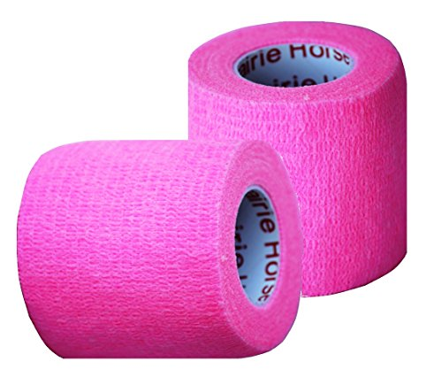 Vet Wrap Tape, Self Adherent Rap Tape, Self Adhering Stick Bandage, Self Grip Roll - (2-Inches Wide) x 15' Feet - (Neon Pink) (Self Adhering Elastic)