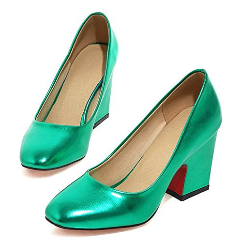 CHFSO Womens Fashion Patent Leather Squared Toe High Chunky Heel Plus Pumps Shoes Blue kd08LCUk3