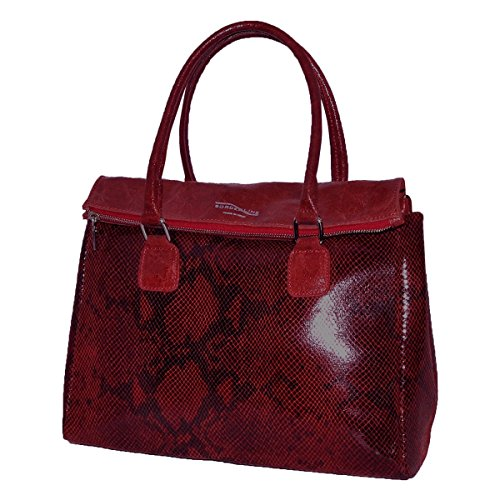 Borderline - 100% Made In Italy - Women Handbag Genuine Leather - Bordeaux Elena