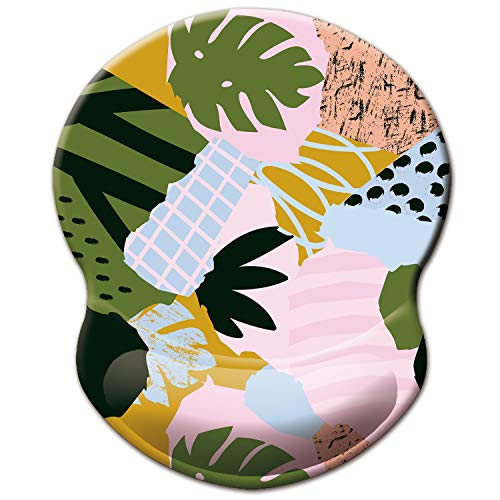 ITNRSIIET Mouse Pad, Ergonomic Mouse Pad with Gel Wrist Rest Support, Floral Mousepad with Lycra Cloth, Non-Slip PU Base for Gaming Computer, Laptop, Home, Office & Travel, Abstract Leaves