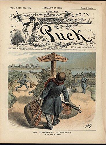 Corrupt Civil Servant Options Exile Prison 1886 antique color lithograph (1886 Colour Map)