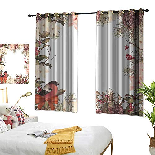 Cedar Metal Canopy Bed - Bedroom Curtains W63 x L45 New Year,Eurasian Bullfinch Motif with Cedar Branch Holly Berries Vintage,Dried Rose Coral Pale Peach Design Curtains Home Furnishings Decor by