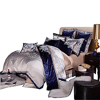 Image of BB.er Continental luxury villa satin Jacquard upscale bedding ten sets, blue Home and Kitchen