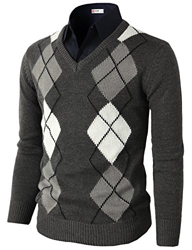 (H2H Mens Casual Slim Fit Pullover Argyle Pattern Long Sleeve Sweater Charcoal US S/Asia M (CMOSWL013))